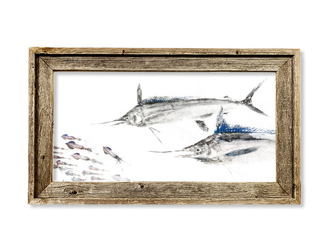 Framed White Marlin chasing squid 26 x 16 framed print