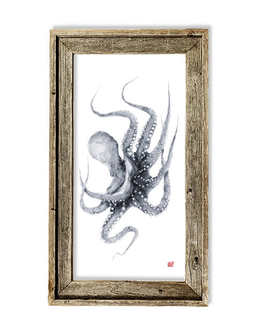 Framed blue grey octopus  26 x 16 framed print
