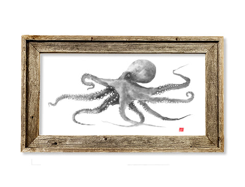 Framed grey octopus  26 x 16 framed print