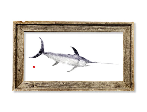 Framed swordfish  26 x 16 framed print
