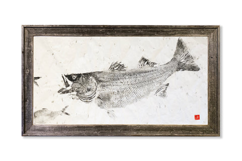 Striped bass chasing pogie #2- Original Framed Print