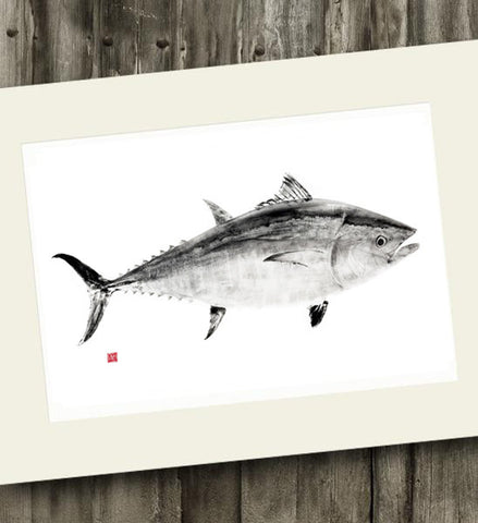 11 x 14 Bluefin Tuna Black ink Gyotaku Archival Print