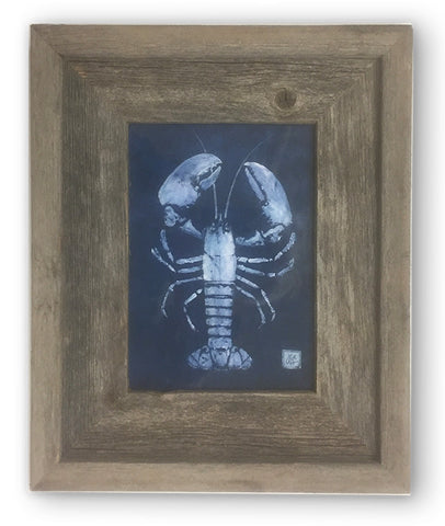 Small Framed lobster on blue