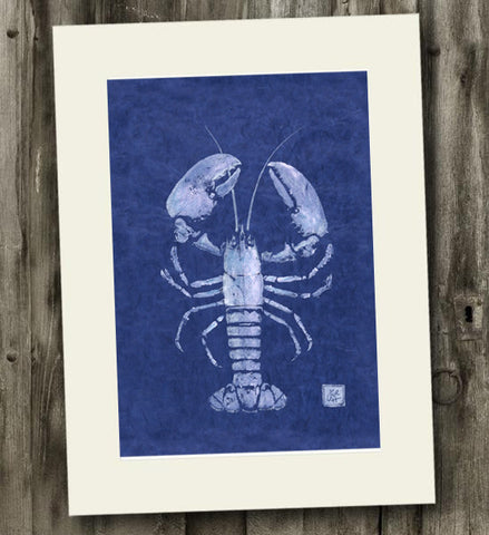 11 x 14 White on Blue Lobster Gyotaku Archival Print