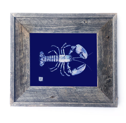 16 x 13 Framed white on blue Lobster
