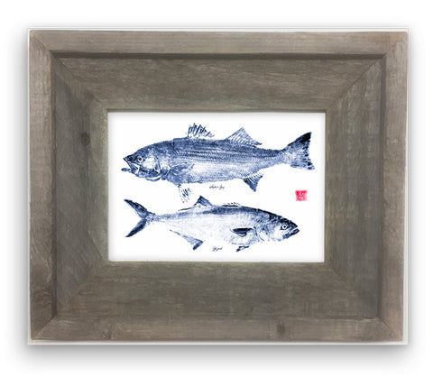 Small Framed Blue Striper & Blue