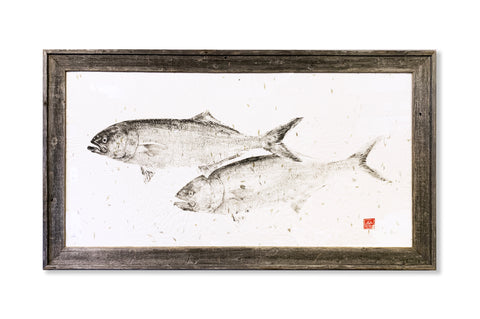 Bluefish pair - Original Framed Print