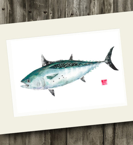 14 x11 Colored False Albacore Gyotaku Archival Print