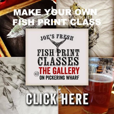 Gift Certificate  Fish print class for 2  for March, April, May - You choose the date and fish.