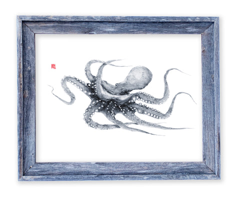 26 x 22 framed swimming octopus