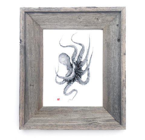 16 x 13 Framed Indigo Octopus