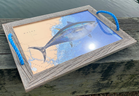 Maine coast tuna tray serving tray with rope handles