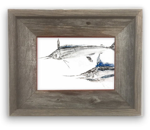 Small Framed White Marlin pair