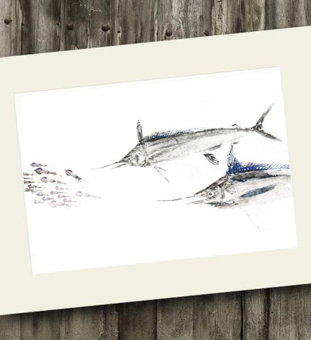 11 x 14 White Marlin Chasing Squid Gyotaku Archival Print