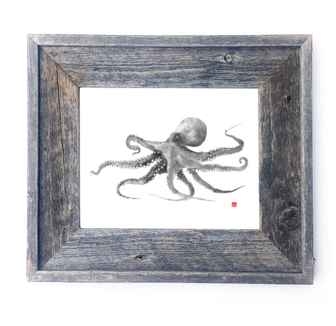16 x 13 Framed Grey Octopus
