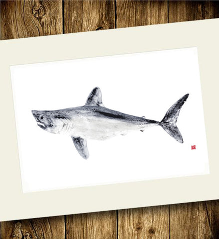 Copy of 18 x 24 Limited Edition Porbeagle Shark Gyotaku Archival Print