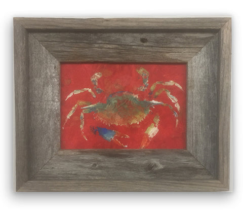 Small Framed Bluecrab on Red