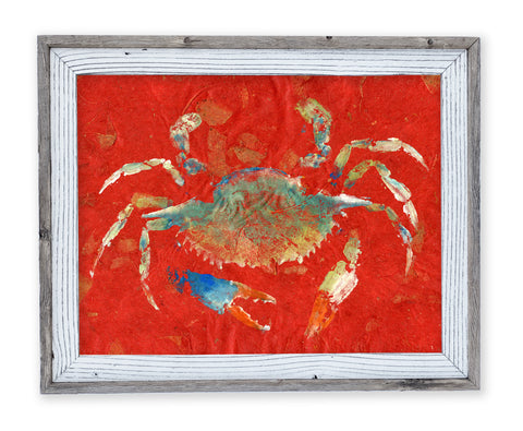 26 x 22 framed blue crab on red leaf