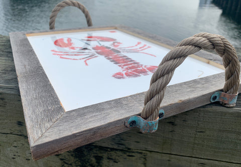 Red lobster serving tray with sturdy rope handles