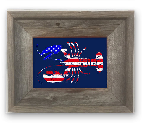 Small Framed American flag lobster