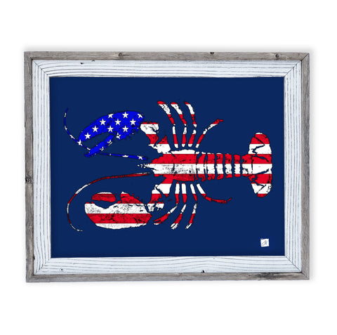 26 x 22 framed red white and blue Lobster