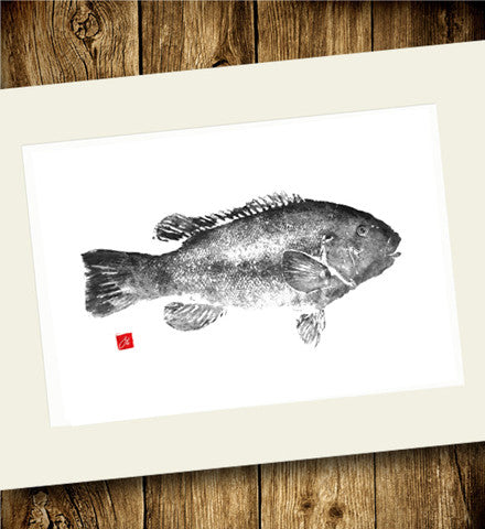 24x18 Limited Edition Tautog Gyotaku Archival Print