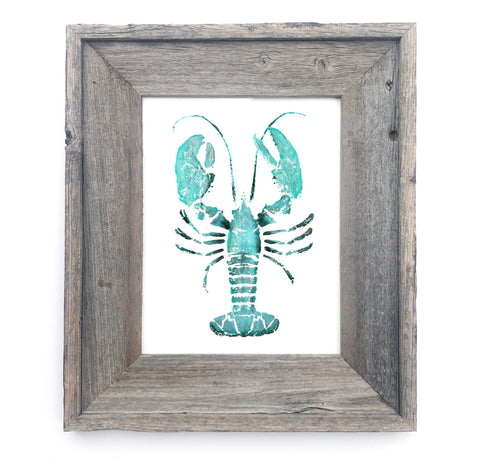 16 x 13 Framed Teal Lobster