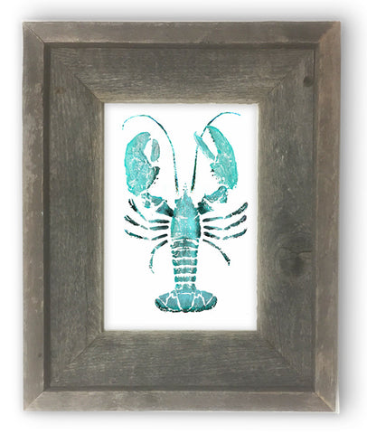 Small Framed teal lobster