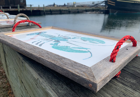 Teal lobster serving tray with rope handles