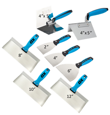 stainless steel taping knife, joint knife, and corner trowel