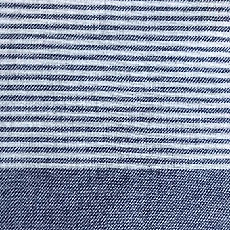 Freostyle Denham navy blue striped Turkish Towel with pocket, close up