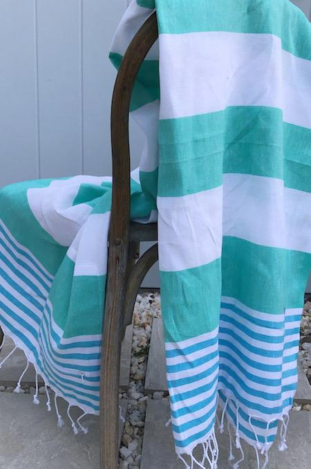 Aquamarine, stylish striped turkish towel