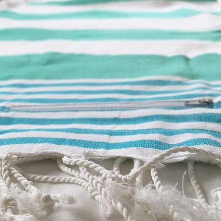 Aquamarine turkish towels with nifty hidden pocket