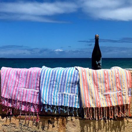 Berry, Oasis and Sunset Stripe, boho Turkish towels with pockets