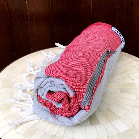 Coral Stripe: light-weight towels that roll up so small