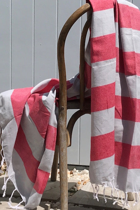 Coral Stripe, grey and red turkish towel with pocket, 100% cotton