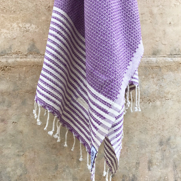 Freostyle Anemone Purple Turkish Towel with pocket, hung
