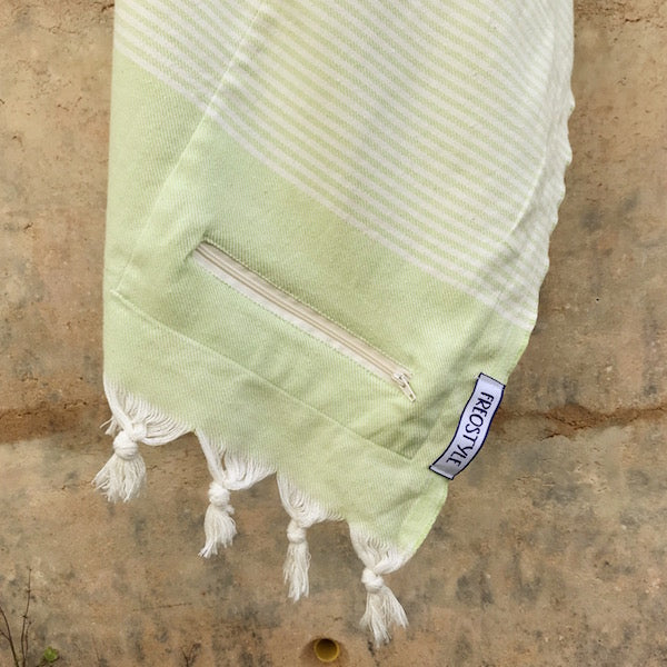 Freostyle Breeze green striped Turkish Towel with pocket, hung