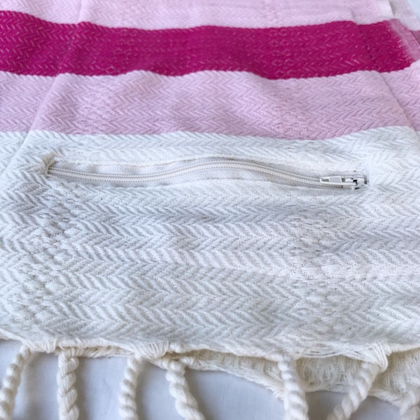 Freostyle Coral pink on pink & cream striped Turkish Towel with zipper pocket