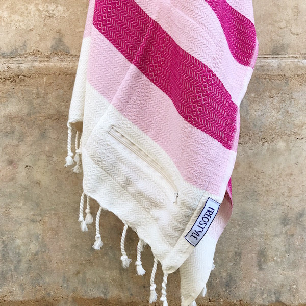 Freostyle Coral pink on pink & cream striped Turkish Towel with pocket, hung