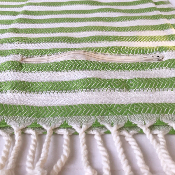 Freostyle Kelp green striped 70% bamboo Turkish Towel with zip up pocket