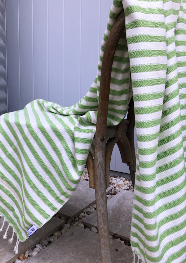 Freostyle Kelp green striped 70% bamboo Turkish Towel with pocket, displayed