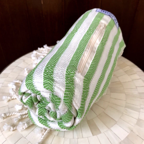 Freostyle Kelp green striped 70% bamboo Turkish Towel with pocket, rolled