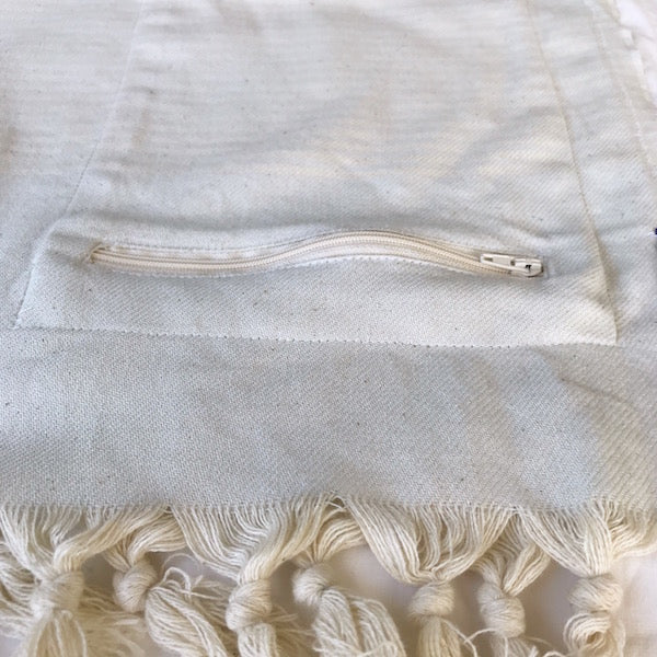 Freostyle Luminescence ice blue striped Turkish Towel with pocket, close up of zip pocket