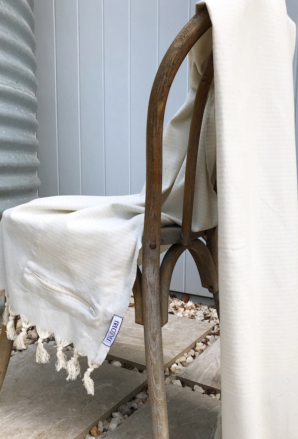 Freostyle Luminescence ice blue striped Turkish Towel with pocket, displayed