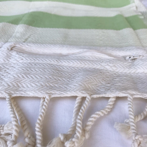 Freostyle Mandalay green & cream striped Turkish Towel with pocket, zip pocket