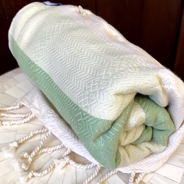 Freostyle Mandalay green & cream striped Turkish Towel with pocket, rolled