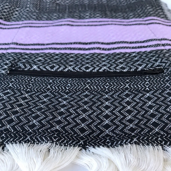 Freostyle Purple Skies black and purple striped Turkish Towel with zipper pocket