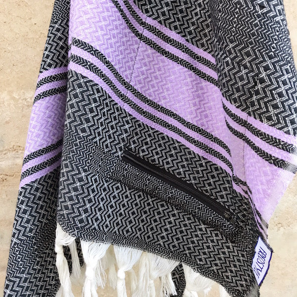 Freostyle Purple Skies black and purple striped Turkish Towel with pocket, hung