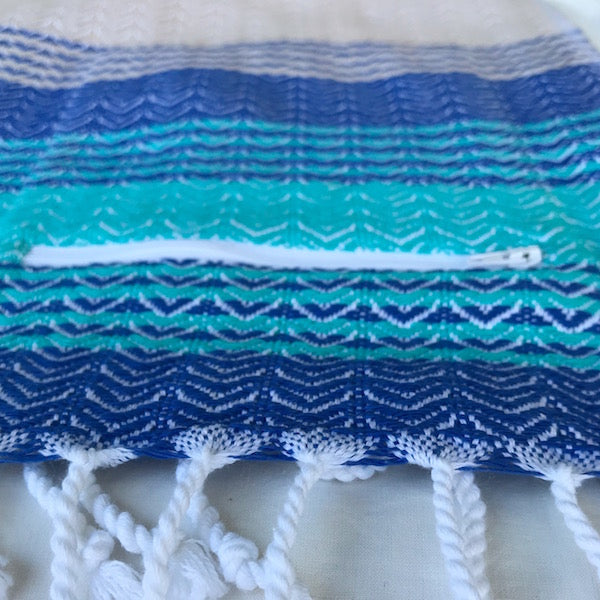 Freostyle Sandbanks beige and blue striped Turkish Towel with zipper pocket